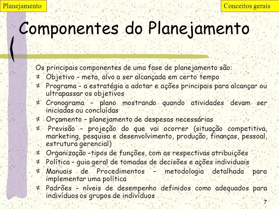7 Componentes do Planejamento Os principais componentes de uma fase de planejamento são: Objetivo – meta, alvo a ser alcançada em certo tempo Programa