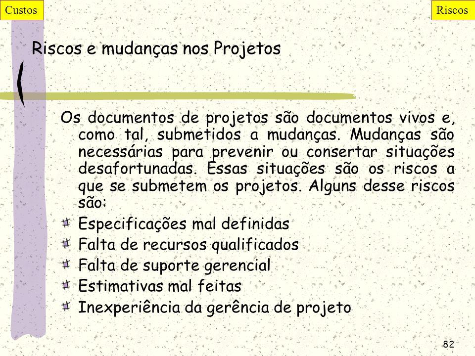 82 Riscos e mudanças nos Projetos Os documentos de projetos são documentos vivos e, como tal, submetidos a mudanças. Mudanças são necessárias para pre