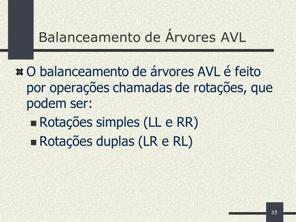 35 Balanceamento de Árvores AVL O balanceamento de árvores AVL é feito por operações chamadas de rotações, que podem ser: Rotações simples (LL e RR) Rotações duplas (LR e RL)