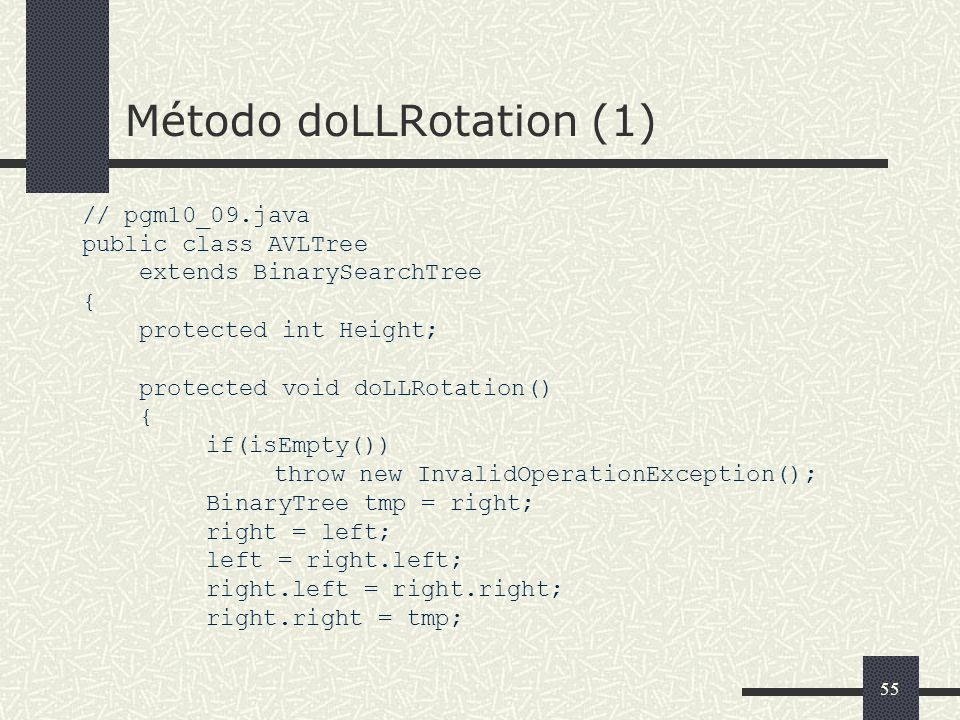 55 Método doLLRotation (1) // pgm10_09.java public class AVLTree extends BinarySearchTree { protected int Height; protected void doLLRotation() { if(isEmpty()) throw new InvalidOperationException(); BinaryTree tmp = right; right = left; left = right.left; right.left = right.right; right.right = tmp;