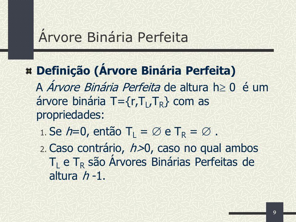 9 Árvore Binária Perfeita Definição (Árvore Binária Perfeita) A Árvore Binária Perfeita de altura h 0 é um árvore binária T={r,T L,T R } com as propriedades: 1.