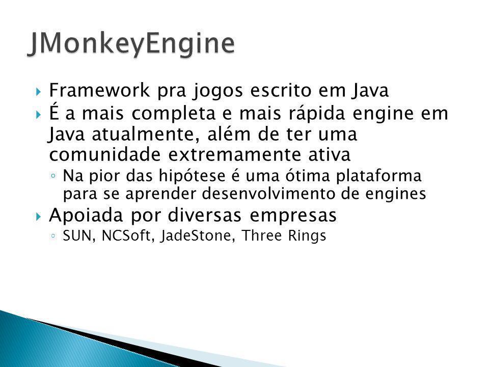 Framework pra jogos escrito em Java É a mais completa e mais rápida engine em Java atualmente, além de ter uma comunidade extremamente ativa Na pior d