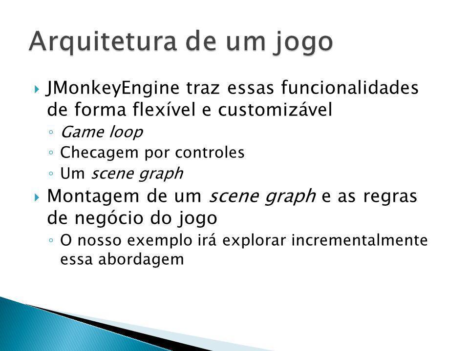 JMonkeyEngine traz essas funcionalidades de forma flexível e customizável Game loop Checagem por controles Um scene graph Montagem de um scene graph e