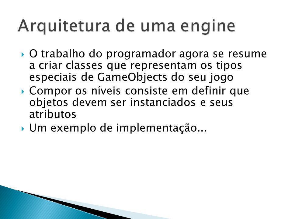O trabalho do programador agora se resume a criar classes que representam os tipos especiais de GameObjects do seu jogo Compor os níveis consiste em d