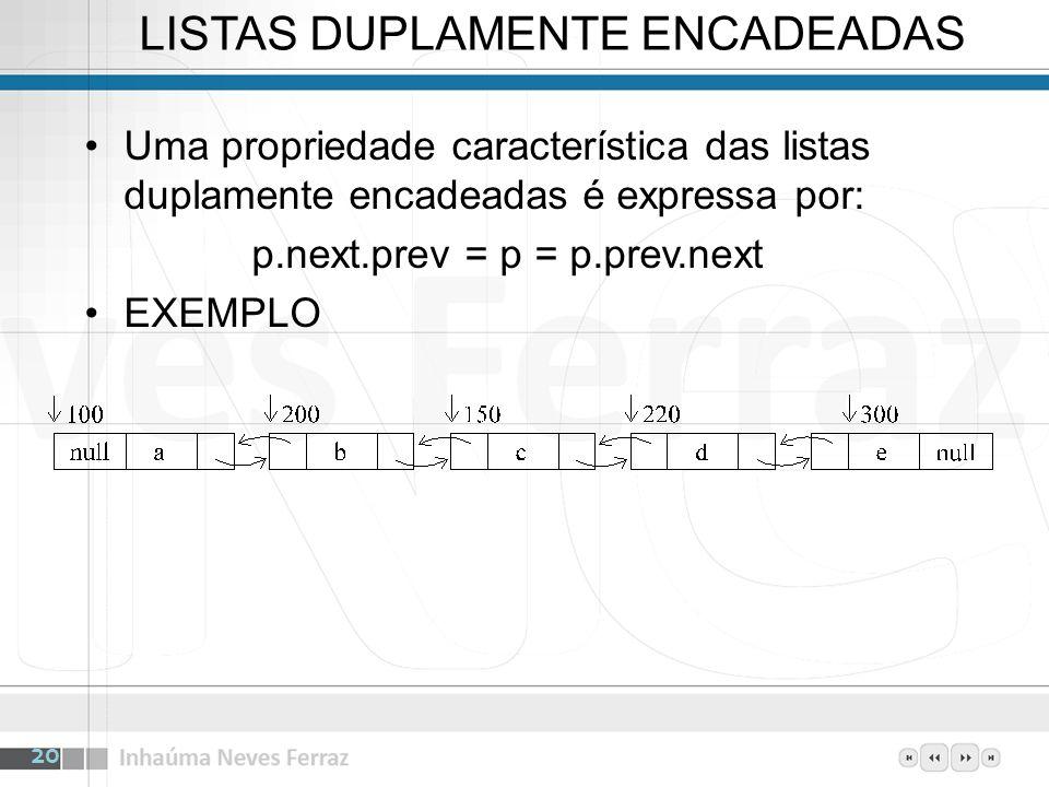 LISTAS DUPLAMENTE ENCADEADAS Uma propriedade característica das listas duplamente encadeadas é expressa por: p.next.prev = p = p.prev.next EXEMPLO 20