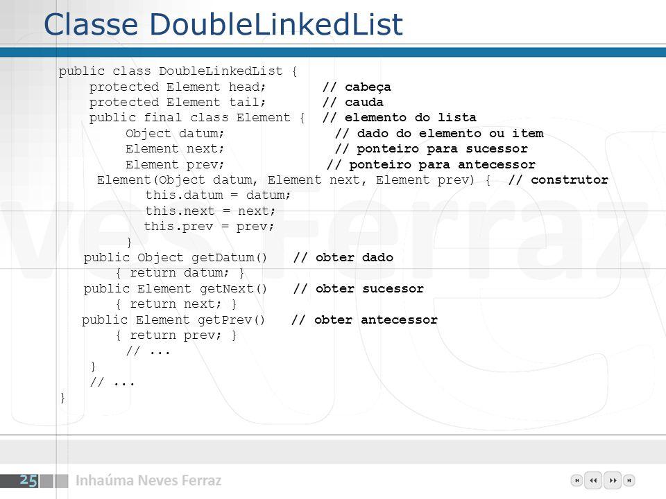 Classe DoubleLinkedList public class DoubleLinkedList { protected Element head; // cabeça protected Element tail; // cauda public final class Element