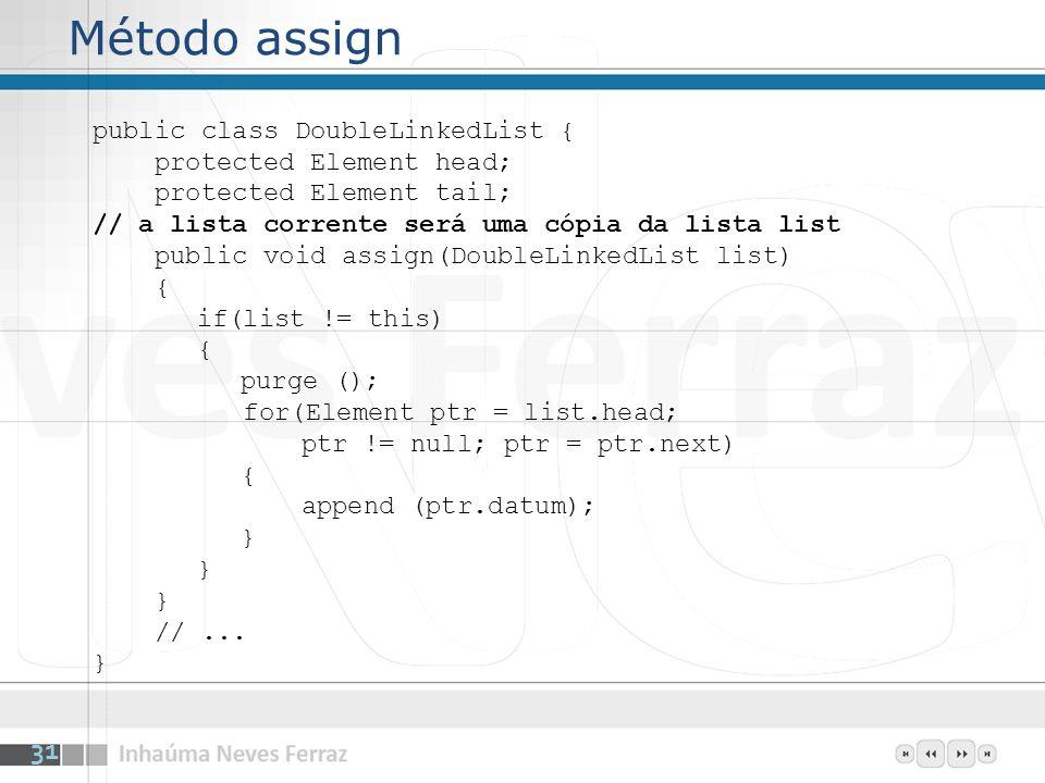 Método assign public class DoubleLinkedList { protected Element head; protected Element tail; // a lista corrente será uma cópia da lista list public