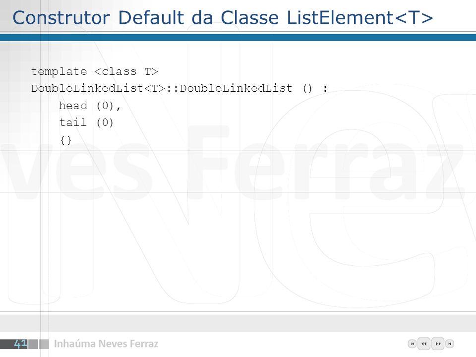 Construtor Default da Classe ListElement template DoubleLinkedList ::DoubleLinkedList () : head (0), tail (0) {} 41