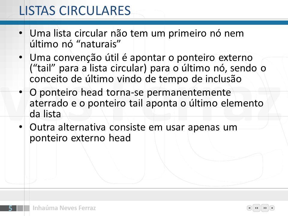 LISTAS CIRCULARES Uma lista circular não tem um primeiro nó nem último nó naturais Uma convenção útil é apontar o ponteiro externo (tail para a lista
