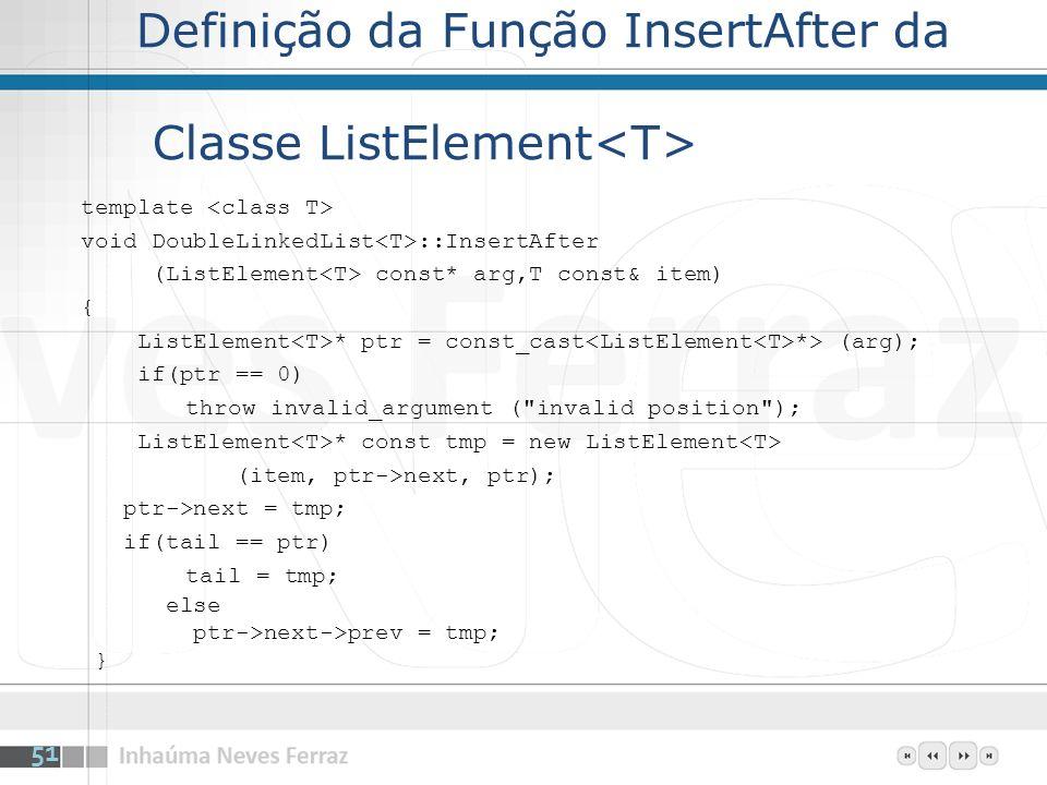 Definição da Função InsertAfter da Classe ListElement template void DoubleLinkedList ::InsertAfter (ListElement const* arg,T const& item) { ListElemen