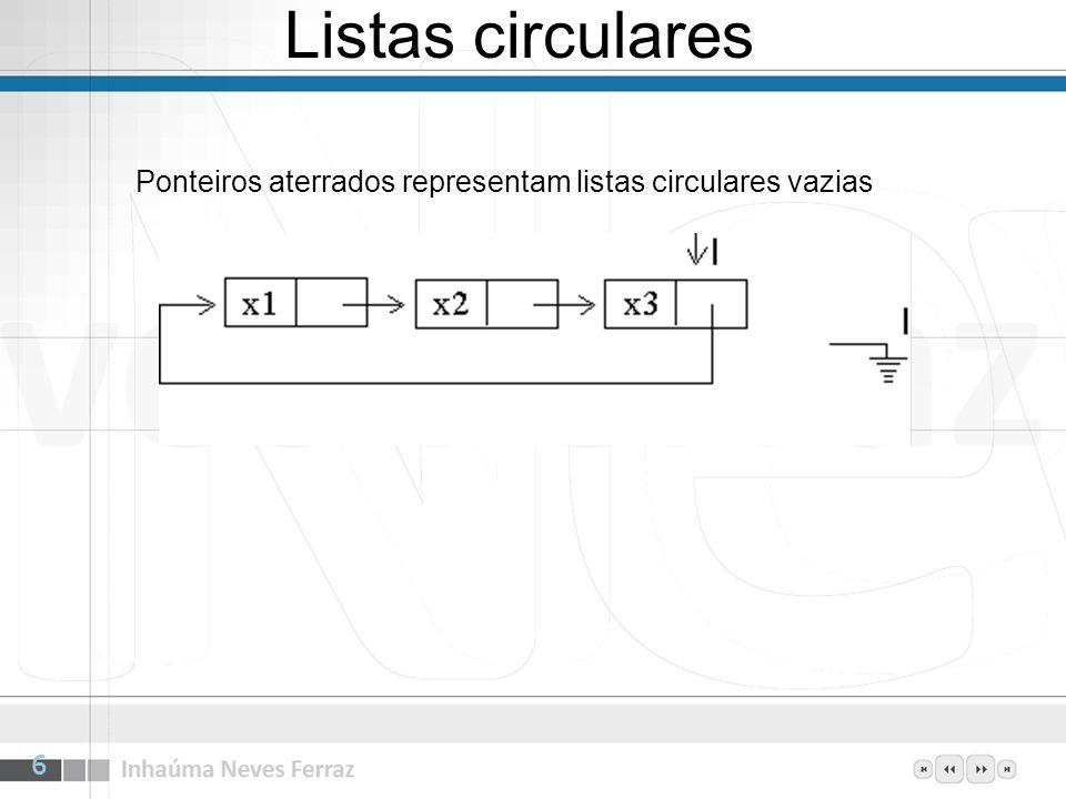 Listas circulares 6 Ponteiros aterrados representam listas circulares vazias