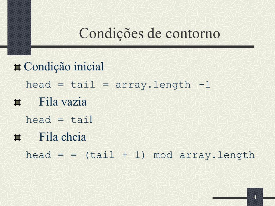 4 Condições de contorno Condição inicial head = tail = array.length -1 Fila vazia head = tai l Fila cheia head = = (tail + 1) mod array.length 4