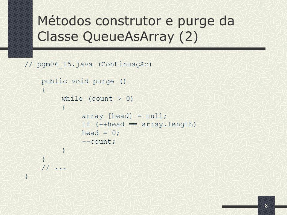 99 Método getHead da Classe QueueAsArray // pgm06_16.java public class QueueAsArray extends AbstractContainer implements Queue { protected Object[] array; protected int head; protected int tail; public Object getHead () { if(count == 0) throw new ContainerEmptyException (); return array [head]; }