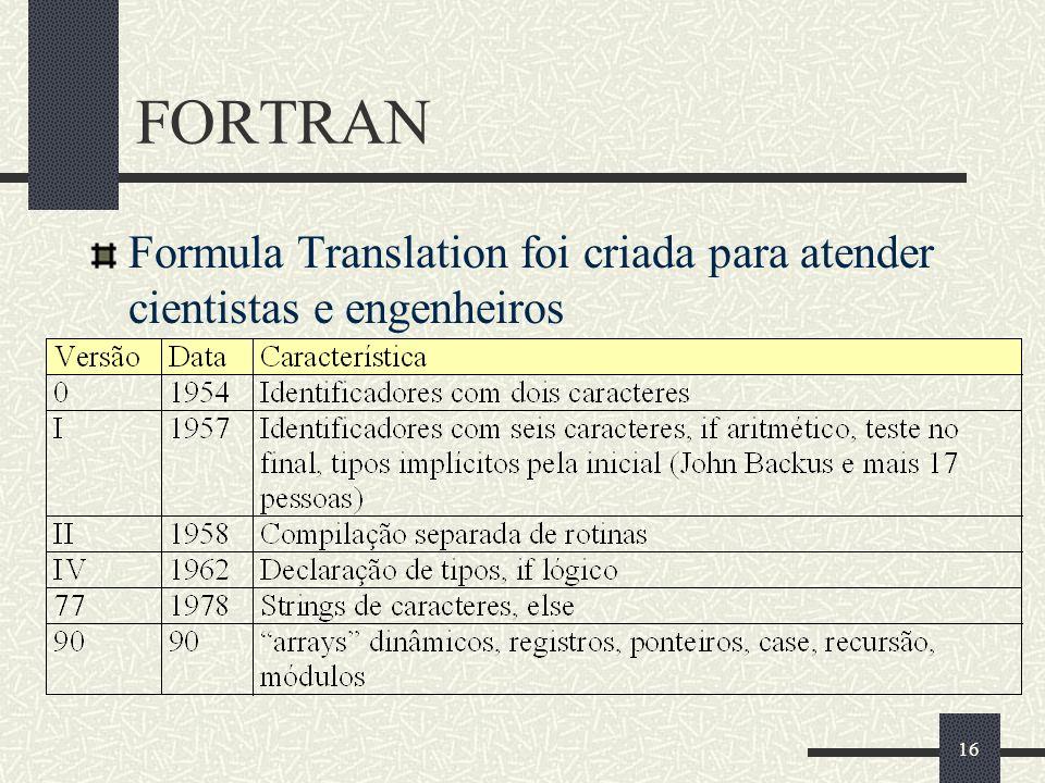 16 FORTRAN Formula Translation foi criada para atender cientistas e engenheiros