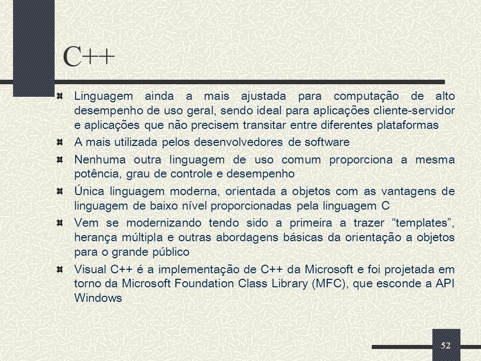 52 C++ Linguagem ainda a mais ajustada para computação de alto desempenho de uso geral, sendo ideal para aplicações cliente-servidor e aplicações que