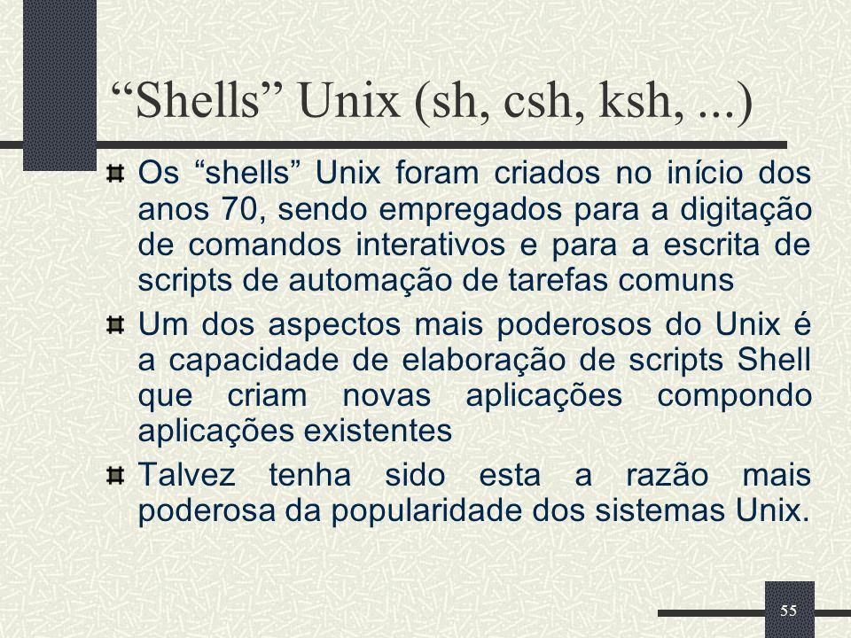 55 Shells Unix (sh, csh, ksh,...) Os shells Unix foram criados no início dos anos 70, sendo empregados para a digitação de comandos interativos e para