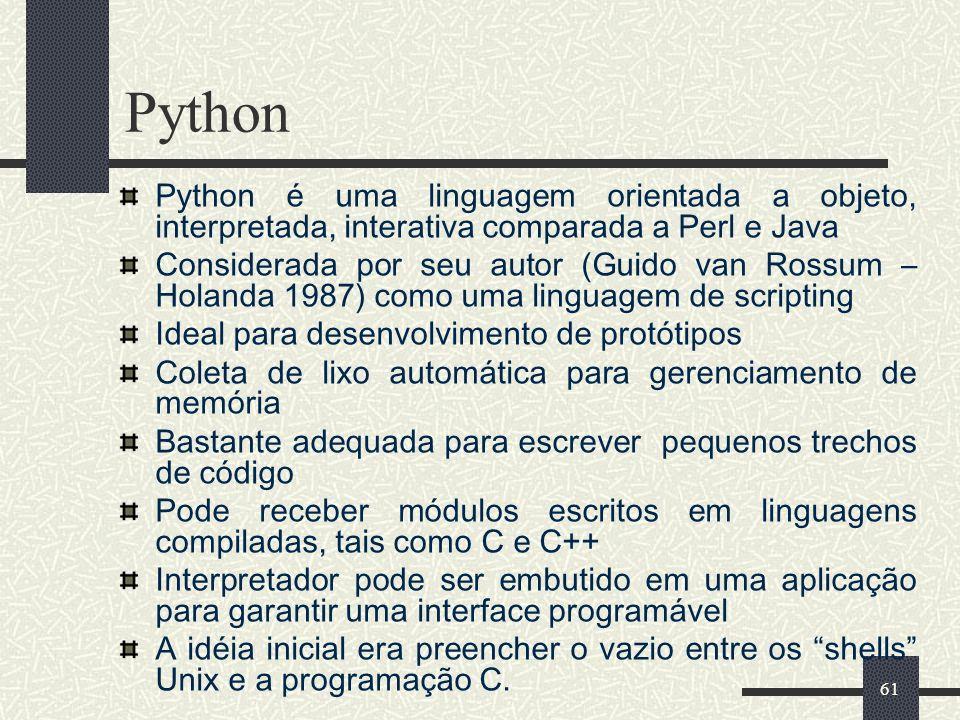 61 Python Python é uma linguagem orientada a objeto, interpretada, interativa comparada a Perl e Java Considerada por seu autor (Guido van Rossum – Ho