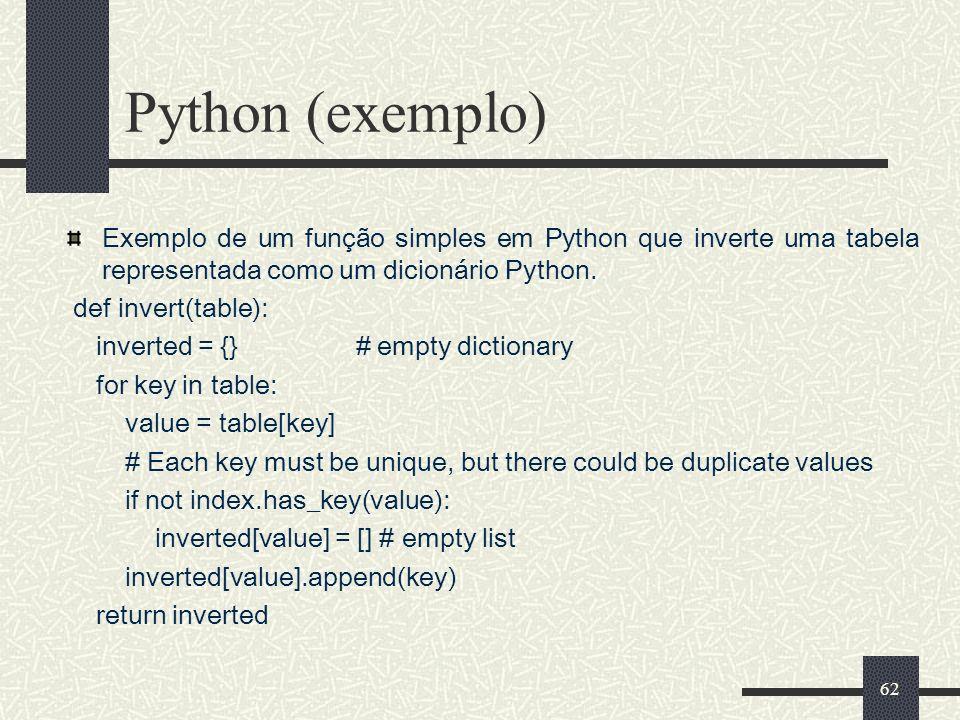 62 Python (exemplo) Exemplo de um função simples em Python que inverte uma tabela representada como um dicionário Python. def invert(table): inverted