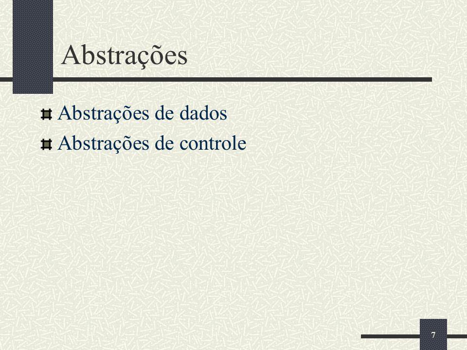 7 Abstrações Abstrações de dados Abstrações de controle