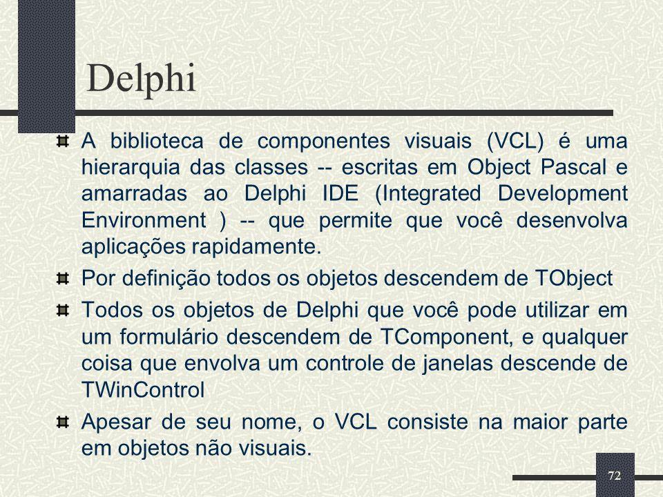 72 Delphi A biblioteca de componentes visuais (VCL) é uma hierarquia das classes -- escritas em Object Pascal e amarradas ao Delphi IDE (Integrated De