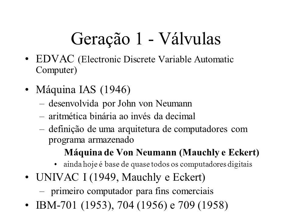 Geração 1 - Válvulas EDVAC (Electronic Discrete Variable Automatic Computer) Máquina IAS (1946) –desenvolvida por John von Neumann –aritmética binária