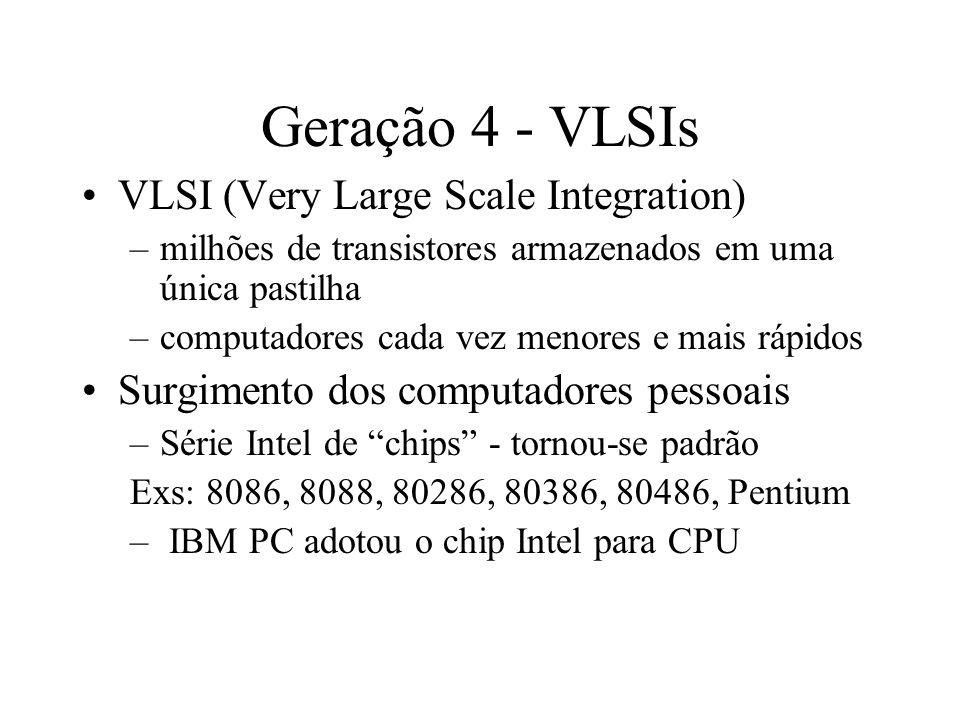 Geração 4 - VLSIs VLSI (Very Large Scale Integration) –milhões de transistores armazenados em uma única pastilha –computadores cada vez menores e mais