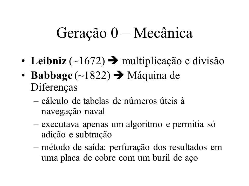 Geração 0 – Mecânica Leibniz (~1672) multiplicação e divisão Babbage (~1822) Máquina de Diferenças –cálculo de tabelas de números úteis à navegação na