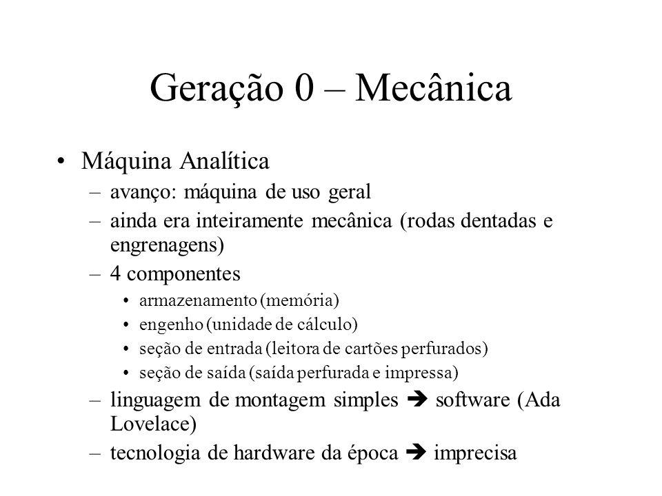Geração 0 – Mecânica Projeto de calculadoras automáticas –uso de relés eletromecânicos Aiken (1944, Harvard) –Mark I computador de uso geral construído com relés 72 palavras de 23 dígitos decimais –Mark II tecnologia de relés obsoleta Início da era eletrônica