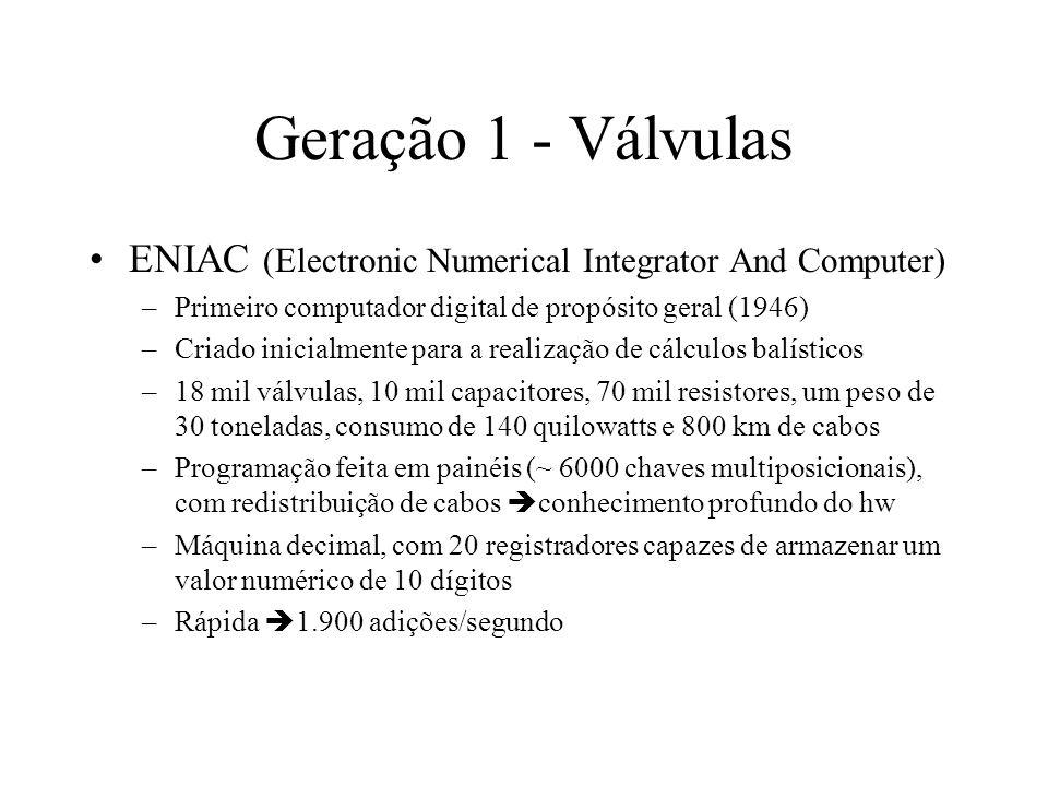Geração 1 - Válvulas ENIAC (Electronic Numerical Integrator And Computer) –Primeiro computador digital de propósito geral (1946) –Criado inicialmente