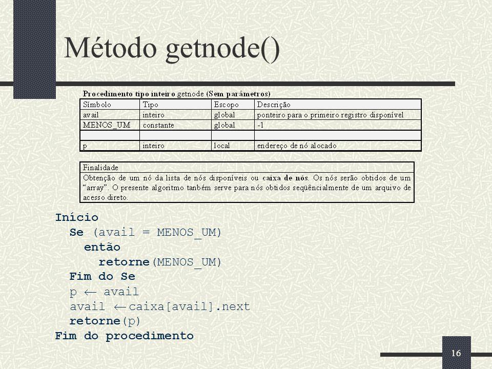 15 Método create_avail() void create_avail(void){ int i; avail = 0; for(i=0; i<numNodes-1; i++){ node[i].next = i+1; } node[numNodes-1].next = -1; }