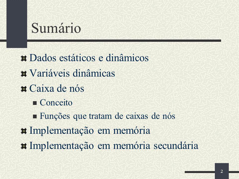 Variáveis Dinâmicas Caixas de Nós Inhaúma Neves Ferraz Departamento de Ciência da Computação Universidade Federal Fluminense ferraz@ic.uff.br