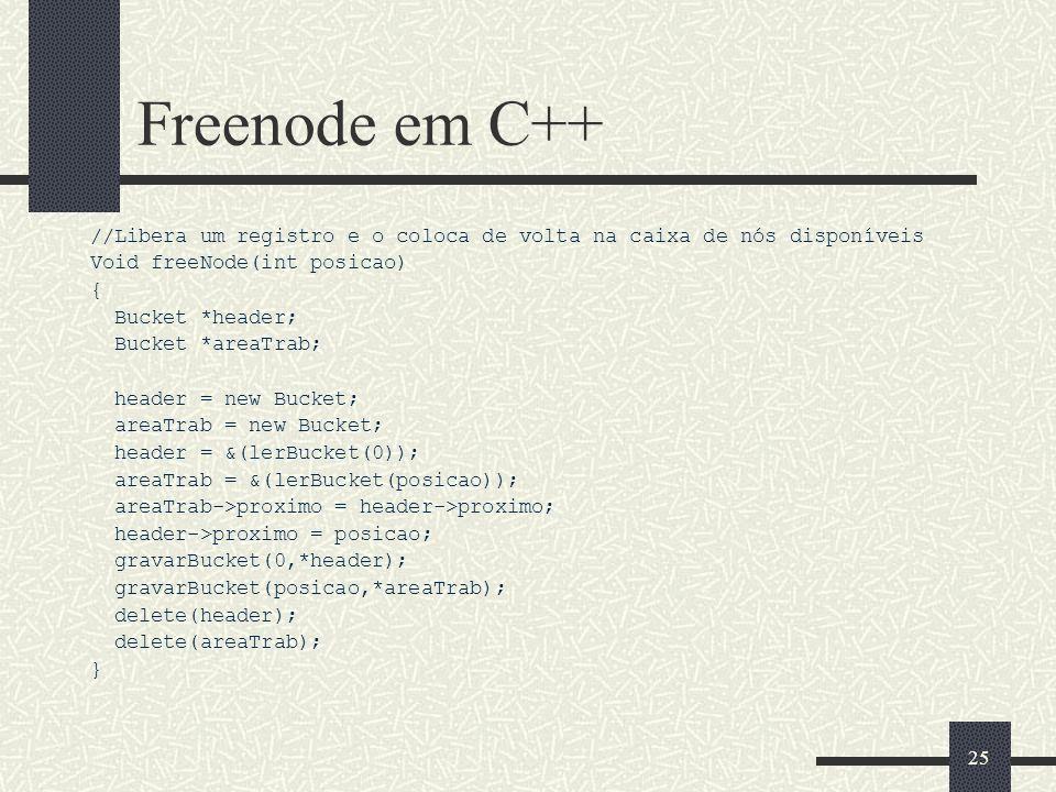 24 Getnode em C++ //Retorna um nó (Registro) disponível do arquivo de acesso direto Int getNode() { Bucket *header; Bucket *areaTrab; int posicao; hea
