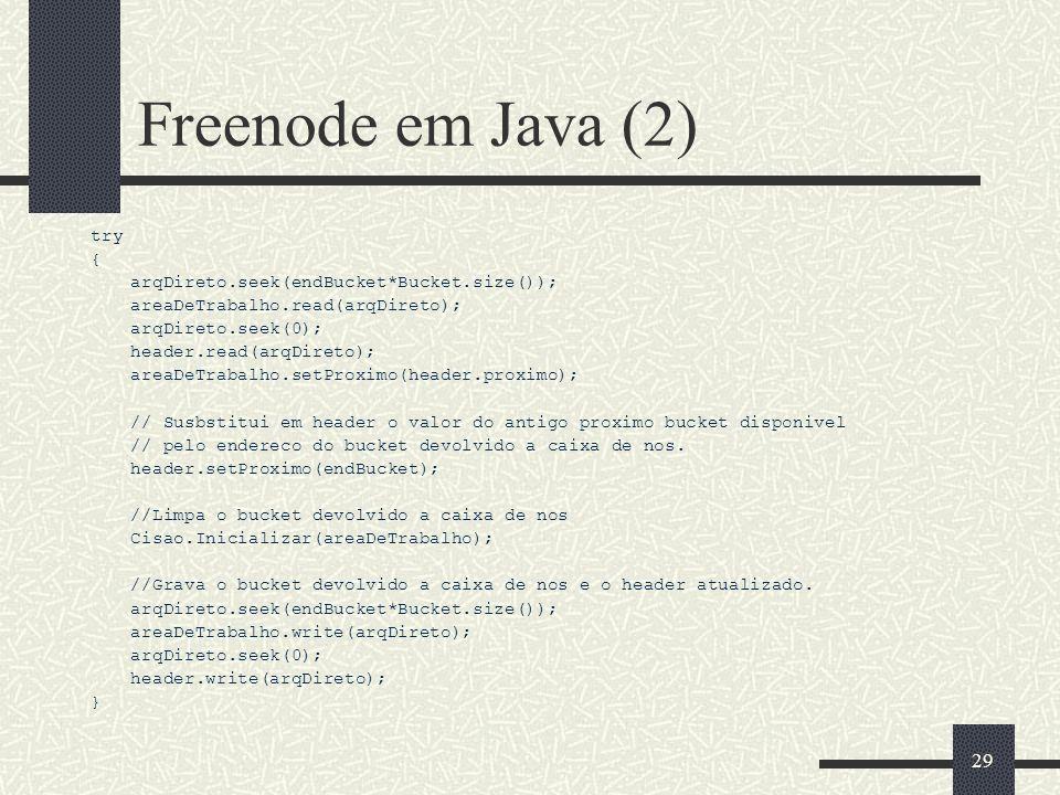 28 Freenode em Java (1) /* Devolver a caixa de nos um bucket não mais necessário. * Parametros: * endBucket: endereço do bucket a ser liberado **/ pub