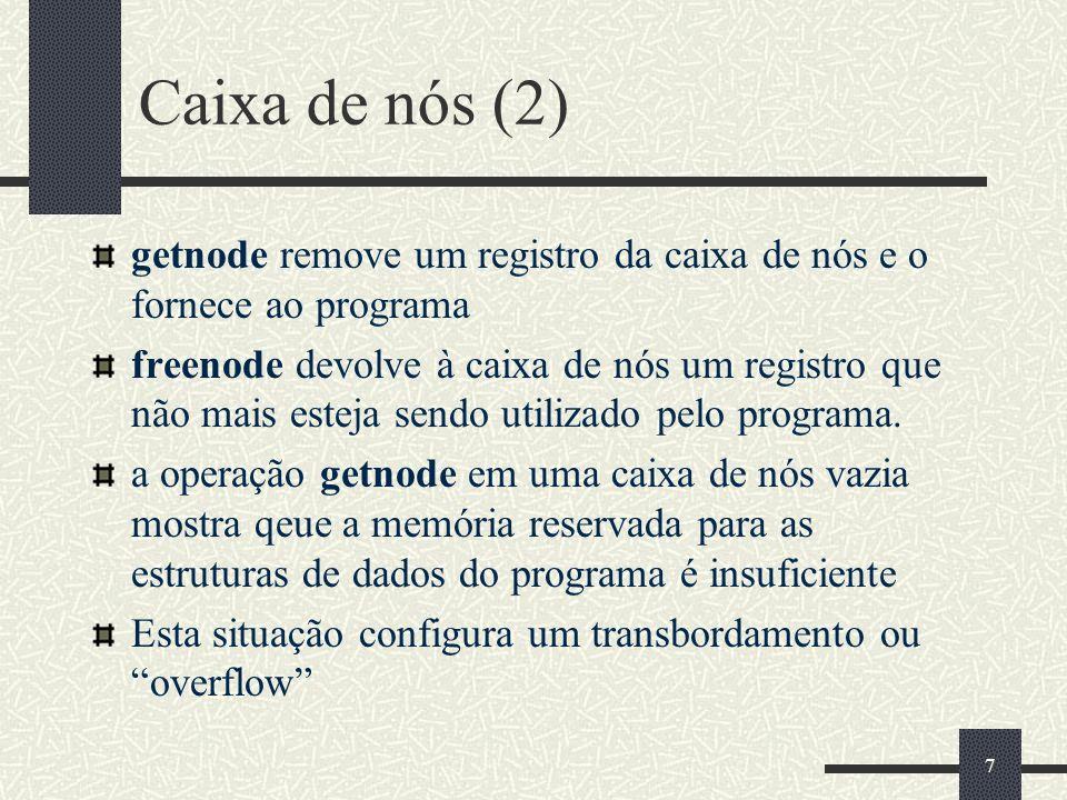 27 Getnode em Java (2) else // Ainda ha nos { Bucket areaTrabalho = new Bucket(); arq.seek(endereco*Bucket.size()); areaTrabalho.read(arq); header.proximo = areaTrabalho.proximo; arq.seek(0); header.write(arq); } catch(IOException ex) { ex.printStackTrace(); } finally { return endereco; }