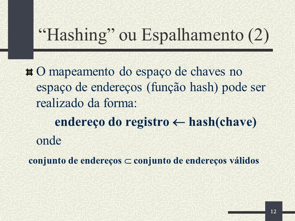 12 Hashing ou Espalhamento (2) O mapeamento do espaço de chaves no espaço de endereços (função hash) pode ser realizado da forma: endereço do registro