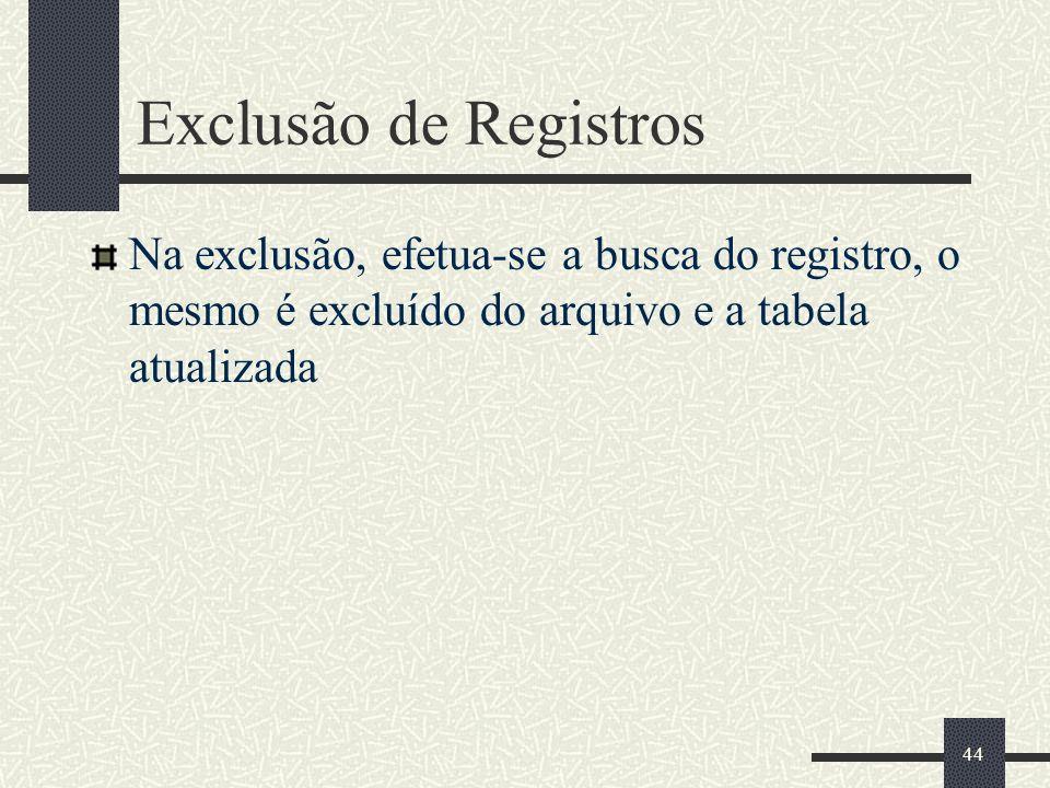 44 Exclusão de Registros Na exclusão, efetua-se a busca do registro, o mesmo é excluído do arquivo e a tabela atualizada