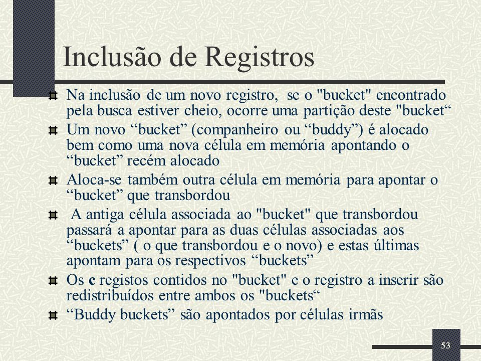53 Inclusão de Registros Na inclusão de um novo registro, se o