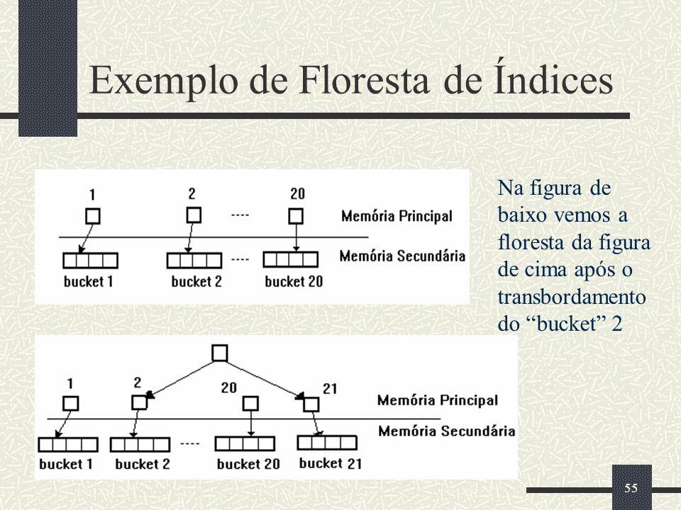 55 Exemplo de Floresta de Índices Na figura de baixo vemos a floresta da figura de cima após o transbordamento do bucket 2