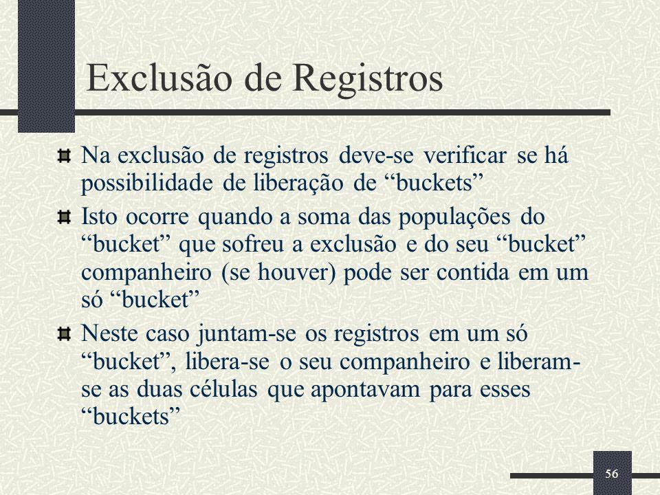 56 Exclusão de Registros Na exclusão de registros deve-se verificar se há possibilidade de liberação de buckets Isto ocorre quando a soma das populaçõ