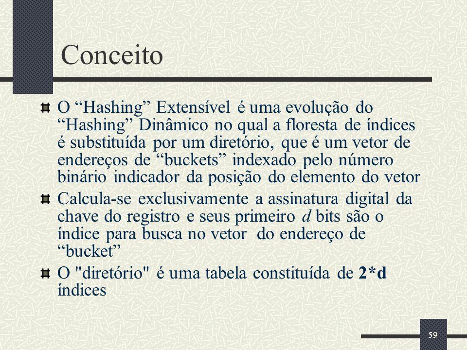 59 Conceito O Hashing Extensível é uma evolução do Hashing Dinâmico no qual a floresta de índices é substituída por um diretório, que é um vetor de en