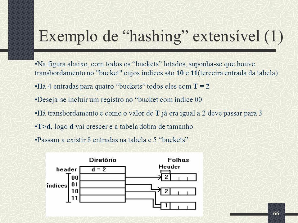 66 Exemplo de hashing extensível (1) Na figura abaixo, com todos os buckets lotados, suponha-se que houve transbordamento no