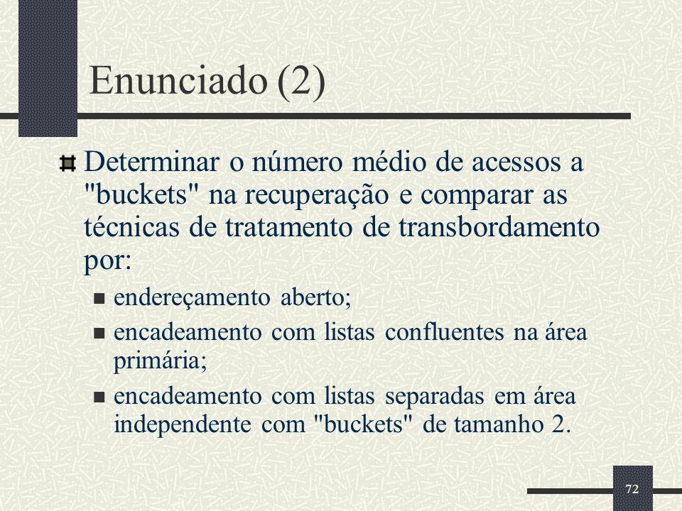 72 Enunciado (2) Determinar o número médio de acessos a