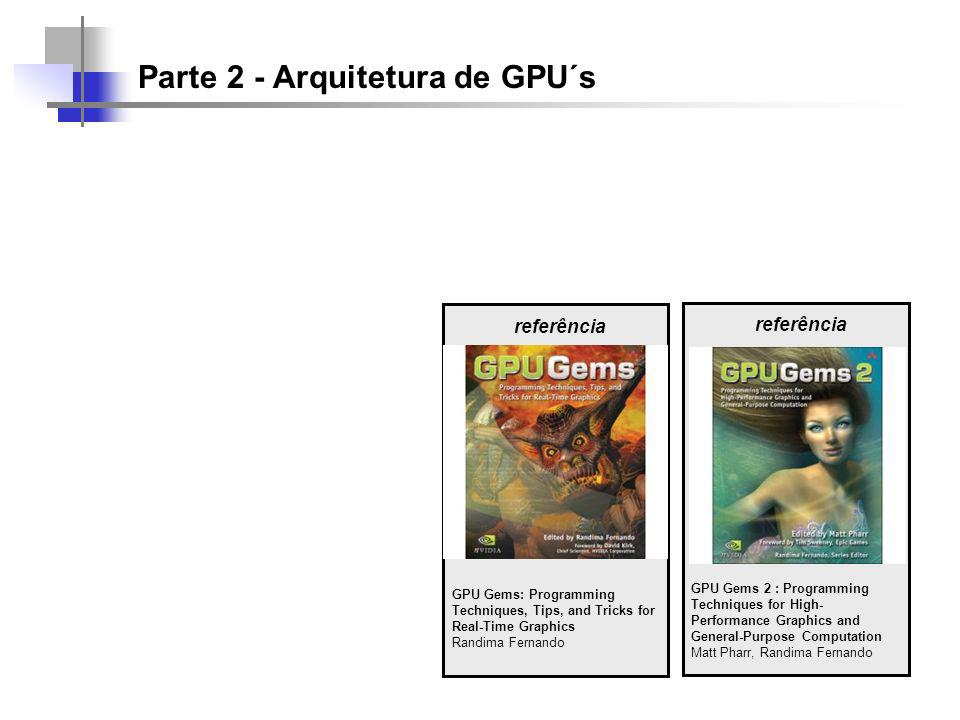 Parte 2 - Arquitetura de GPU´s referência GPU Gems: Programming Techniques, Tips, and Tricks for Real-Time Graphics Randima Fernando referência GPU Gems 2 : Programming Techniques for High- Performance Graphics and General-Purpose Computation Matt Pharr, Randima Fernando