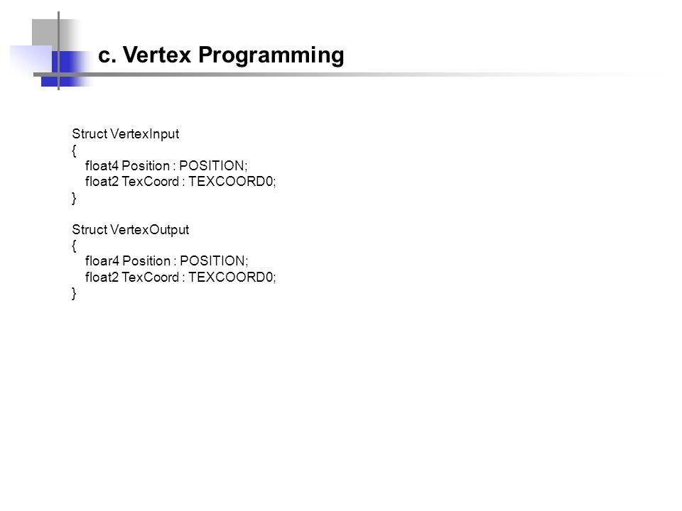 Struct VertexInput { float4 Position : POSITION; float2 TexCoord : TEXCOORD0; } Struct VertexOutput { floar4 Position : POSITION; float2 TexCoord : TEXCOORD0; } c.