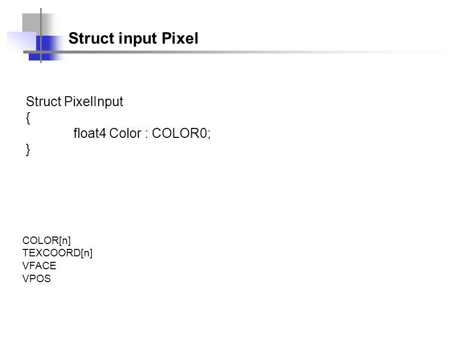 Struct input Pixel Struct PixelInput { float4 Color : COLOR0; } COLOR[n] TEXCOORD[n] VFACE VPOS