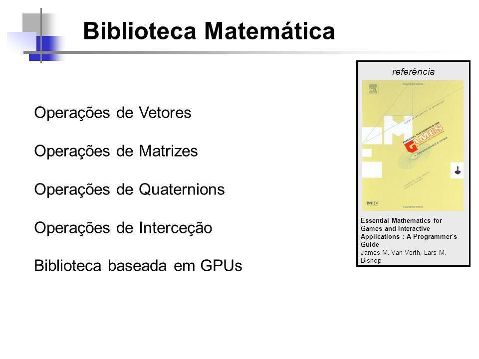 Biblioteca Matemática Operações de Vetores Operações de Matrizes Operações de Quaternions Operações de Interceção Biblioteca baseada em GPUs referência Essential Mathematics for Games and Interactive Applications : A Programmer s Guide James M.