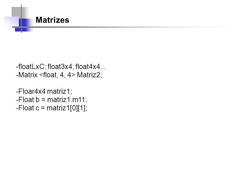 Matrizes -floatLxC: float3x4, float4x4...