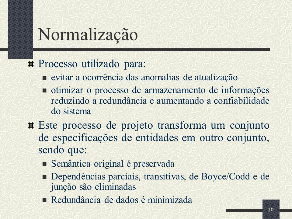 10 Normalização Processo utilizado para: evitar a ocorrência das anomalias de atualização otimizar o processo de armazenamento de informações reduzind