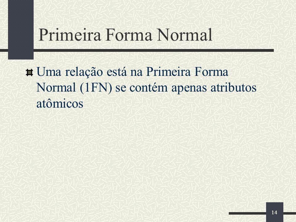 14 Primeira Forma Normal Uma relação está na Primeira Forma Normal (1FN) se contém apenas atributos atômicos