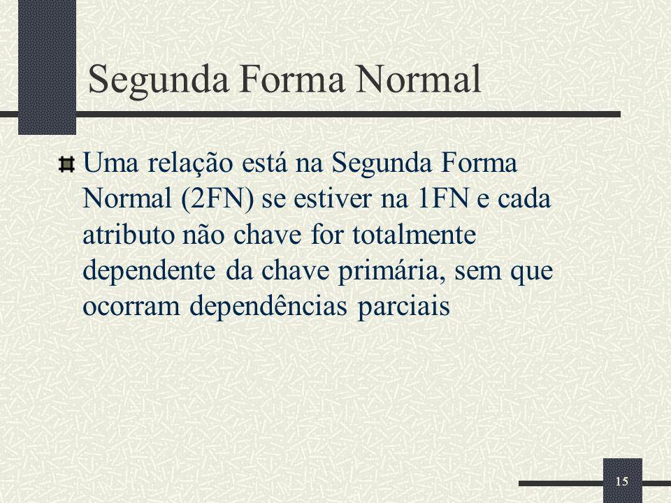 15 Segunda Forma Normal Uma relação está na Segunda Forma Normal (2FN) se estiver na 1FN e cada atributo não chave for totalmente dependente da chave